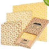 WILDBÄR® - NEU - Premium Bienenwachstücher für Lebensmittel (4 Beeswax Wraps mit Wachsblock) Starter-Set, Wiederverwendbare Wachstücher aus GOTS Baumwolle, 100% natürlich, Zero Waste Wachspapier