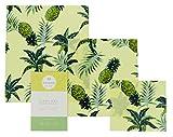 Vegane Wachstücher für Lebensmittel-Kein Bienenwachs-3er Set-Wiederverwendbare Frischhaltefolie-Bio Baumwolle-Umweltfreundlich-Statt Alufolie-Ananasdruck