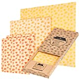 WILDBÄR® - Bienenwachstücher wiederverwendbar für Lebensmittel [4 Bee Wax Wraps] + GRATIS Wachsblock - 100% natürliches Bio Bienenwachstuch als Wachspapier Frischhaltefolie - Wachstücher Set